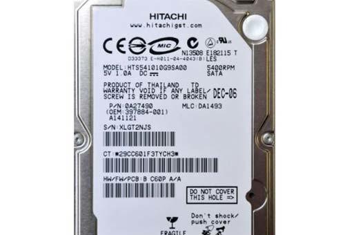 Recupero da Hard Disk Hitachi 2,5 100gb HTS541010G9SA00